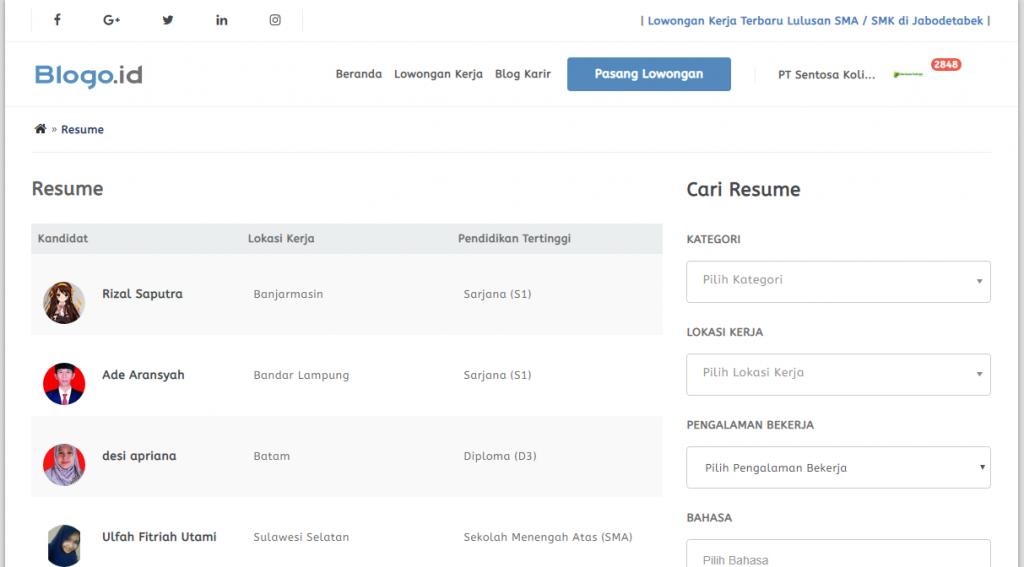 Registrasi Perusahaan Blogo Id